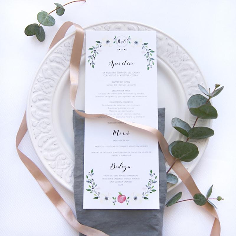 minutas personalizadas para papelería de bodas