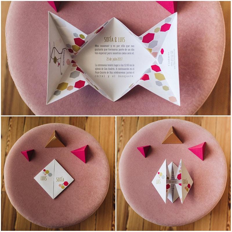 Papelerías de bodas bonitas con formas geometricas