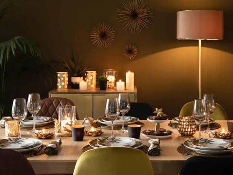 Decora la mesa esta navidad. Iluminación velas